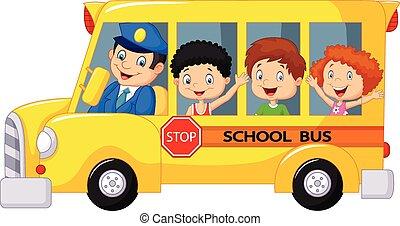 scuola, felice, bambini, cartone animato