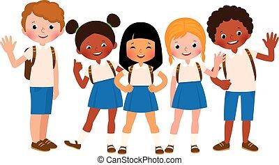 scuola, felice, gruppo, bambini, uniforme
