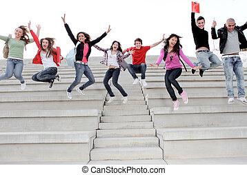 scuola, fine, università, termine, bambini, alto, o, felice