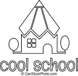 scuola, forma, illustrazione, vettore, concettuale, pencil.