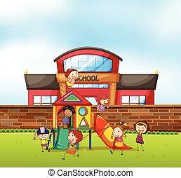 scuola, gioco, campo di gioco, bambini