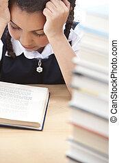 scuola, giovane, libro, bella ragazza, lettura