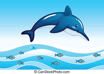 scuola, grande, delfino, piccolo, mare, pesci