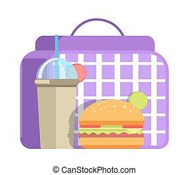 scuola, hamburger, tazza, grande, soda, pranzo, dolce