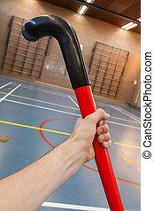 scuola, hockeystick, vecchio, palestra