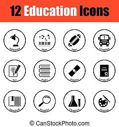 scuola, icona, set