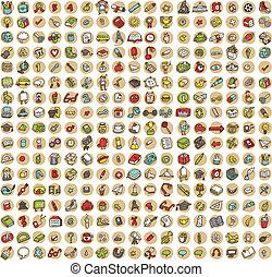 scuola, icone, doodled, 289, collezione, educazione