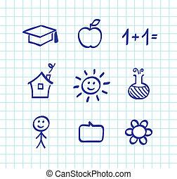 scuola, icone, scarabocchiare, -, isolato, carta, griglia, disegni, bianco