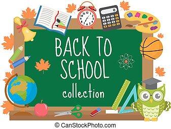 scuola, illustration., cornice, text., indietro, isolato, fondo., vettore, asse, bianco