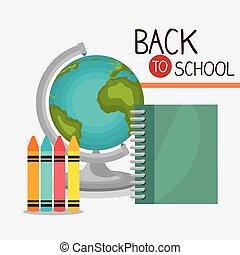 scuola, indietro, design.