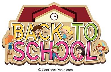 scuola, indietro, disegno, parole, bambini, felice
