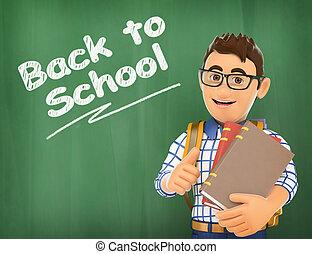 scuola, indietro, giovane, gesso, studente, 3d