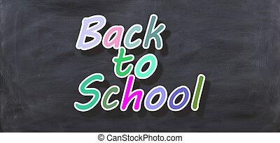 scuola, indietro, interpretazione, nero, lavagna, 3d