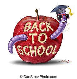 scuola, indietro, mela