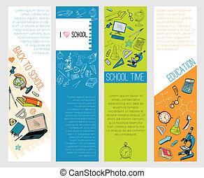 scuola, infographic, educazione, bandiere, icone