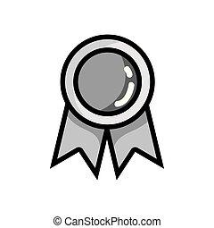 scuola, intelligente, simbolo, grayscale, studente, medaglia