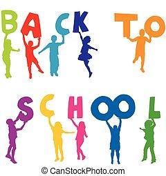 scuola, lettere, indietro, silhouette, presa a terra, bambini