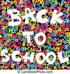 scuola, lettere, sfondo colorato, indietro