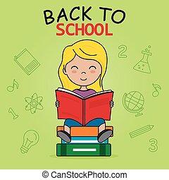scuola, lettura, card., ragazza, indietro