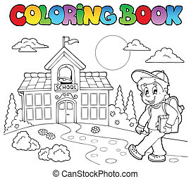scuola, libro colorante, 7, cartoni animati