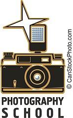 scuola, macchina fotografica, fotografia, lampo, vettore, icona