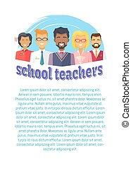 scuola, maschio, femmina, insegnanti, vettore, illustrazione