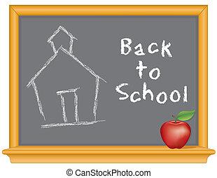 scuola, mela, lavagna