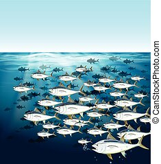 scuola, nuoto, tonno, mare, sotto