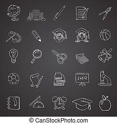 scuola, oggetti, collezione, icone