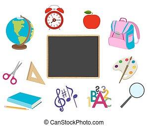 scuola, oggetti, collezione, vettore, white., cartone animato
