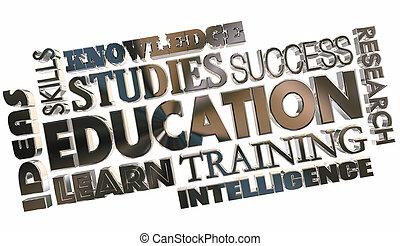 scuola, parola, collage, addestramento, illustrazione, cultura, educazione, 3d