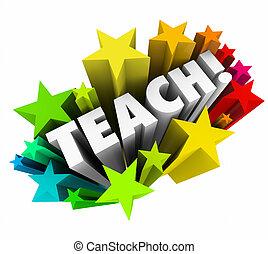 scuola, parola, stelle, professore, università, cultura, insegnare, educazione, insegnante