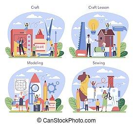 scuola, presa a terra, studente, educazione, tools., insegnante, set., arte, cultura