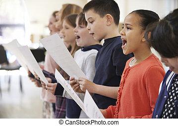 scuola, raggruppare insieme, coro, canto, bambini