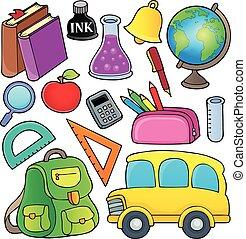 scuola, relativo, oggetti, collezione, 1