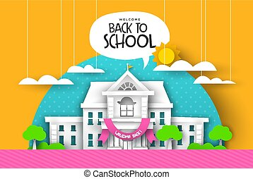 scuola, scheda, paesaggio, highschool, papercut, indietro