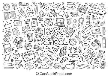 scuola, schizzo, mano, simboli, vettore, doodles, disegnato, educazione