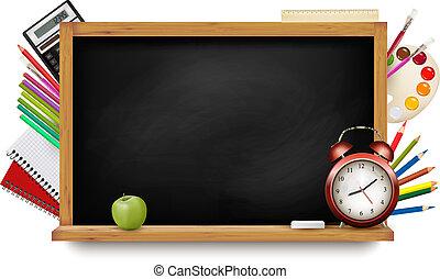 scuola, school., lavagna, indietro, supplies., vector.