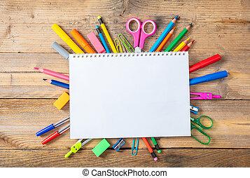 scuola, school., spazio, legno, testo, indietro, fondo, quaderno, vuoto, provviste