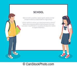 scuola, secondario, zaino, schoolchildren