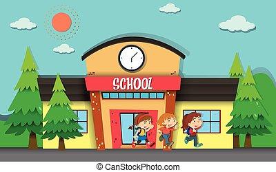 scuola, sera, bambini, abbandono