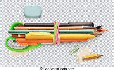 scuola, set, 3d, vettore, supplies., scissors., spazzola, penna, matita, icona
