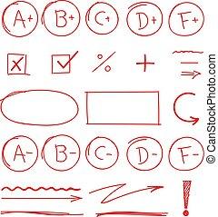 scuola, set, grado, risultati, marcatori, evidenziato, rosso