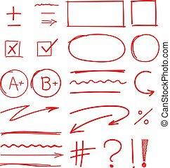 scuola, set, grado, risultati, marcatori, mano, disegnato