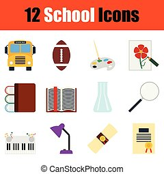 scuola, set, icona