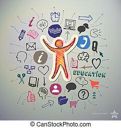 scuola, set, icone, adesivo, mano, umano, disegnato