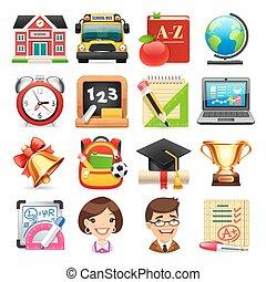 scuola, set, icone