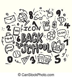 scuola, set, icone, indietro, isolato, simboli, fondo., vettore, disegnato, bianco, mano