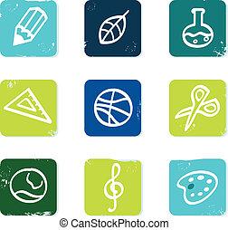scuola, set, icone, &, isolato, elementi, bianco, educazione