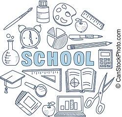 scuola, set, illustrazione, mano, apparecchiatura, vettore, disegnato, stazionario